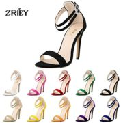 ZriEy Dance&Style Women's Ladies Double Strap Buckle Closed High Heel Wedding Party Work Sandals Peep Toe Velvet