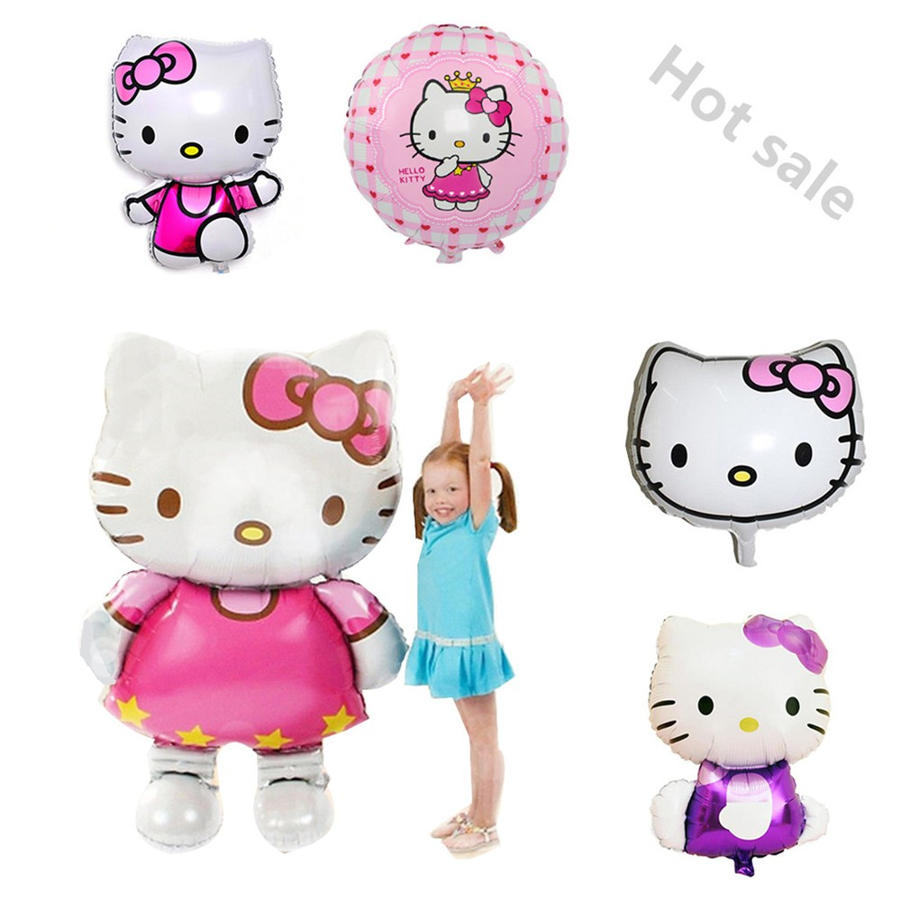 Big Cartoon Hello Kitty Cat Foil Balloon For Birthday Party Decorations Adults Kids Toy Baby Shower Air Wedding Supplies